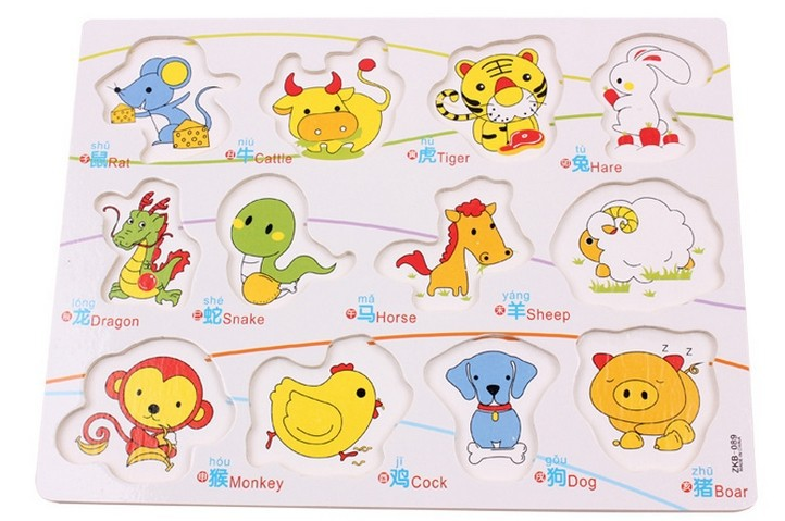 New Wooden Kids Jigsaw Hand grasp board Puzzles Animals Pattern for Children Educational Toys juguetes educativos W035