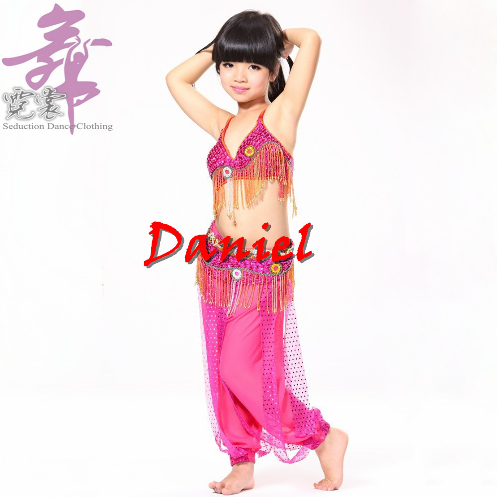 Stage Performance 3-pieces Set Tassel Beads Top, Belt and Pants Sequin Bra 32A Cup Children Belly Dance Costume for Girls(China (Mainland))