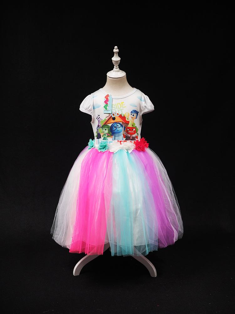 Child girl costume cartoon inside out pattern dress summer short colorful vestido kids clothes<br><br>Aliexpress