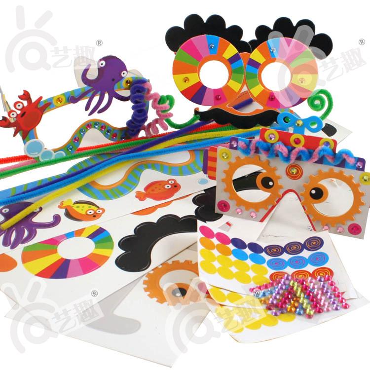 3pcs DIY  cartoon children glasses kindergarden handmade art craft kids color paper stickers educational toys Free shipping<br><br>Aliexpress