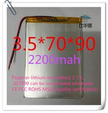 Полимер литиево-ионная аккумулятор 3,7 v, 357090 жестяная банка быть согласно требованиям клиента CE FCC ROHS сертификацией обращению