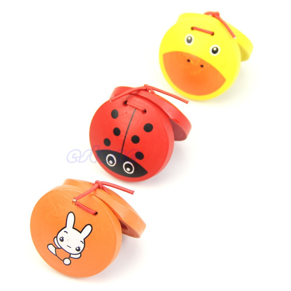 1pc Kid Children Cartoon Wooden Castanet Toy Musical Percussion Instrument Gift(China (Mainland))
