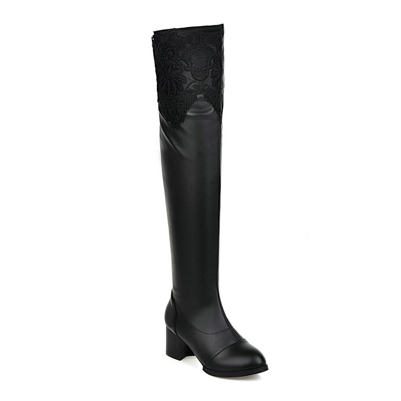 New Cut Outs Flower Over The Knee Motorcycle Boots Pointed Toe Square High Heels Short Plush Winter Women Boots Size 34-43 Black
