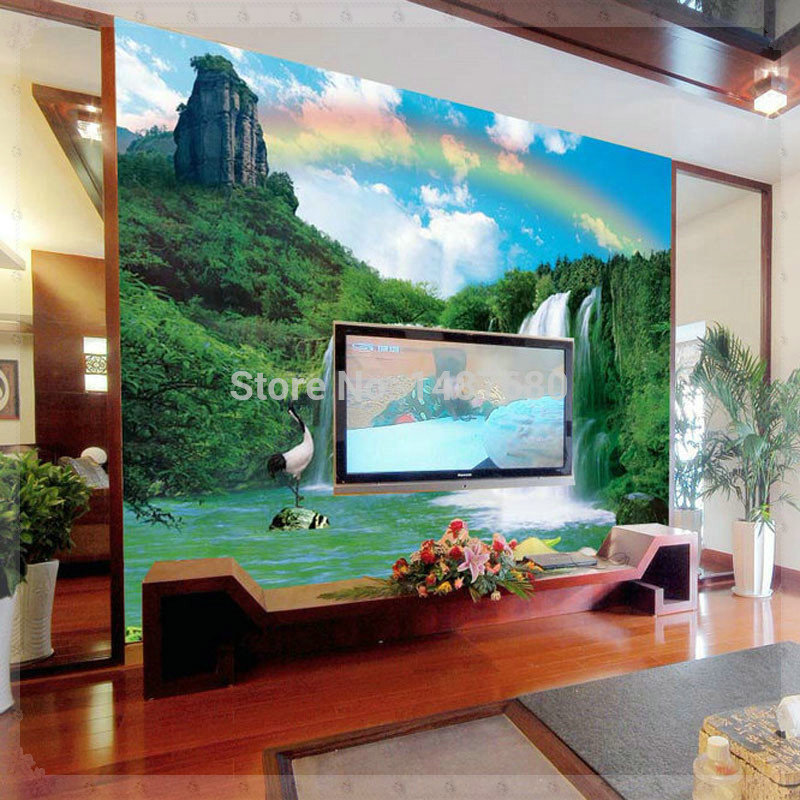 Non woven wallpaper bedroom wall landscape customized 3d for Modern 3d wallpaper for bedroom