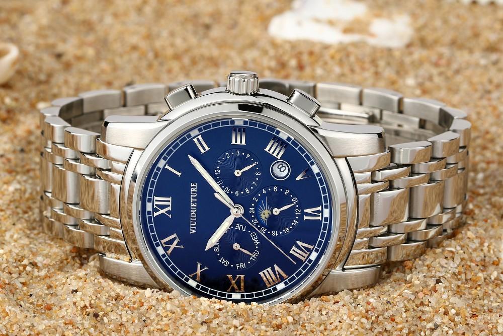 VIUIDUETURE Часы Мужчины Автоматические Механические Часы Самостоятельной Ветер Большой Циферблат Полный Стали Часы Мужчины Бизнес Наручные Часы Relogio Часы
