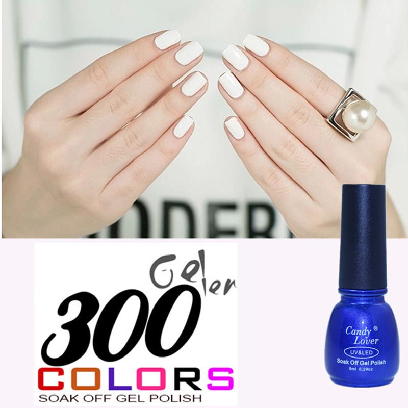 Candy Lover French Manicure Nail Tips White Gel Nail Polish 8ml Soak Off LED UV Nail Enamel For DIY Manicure Nail Art Gel(China (Mainland))