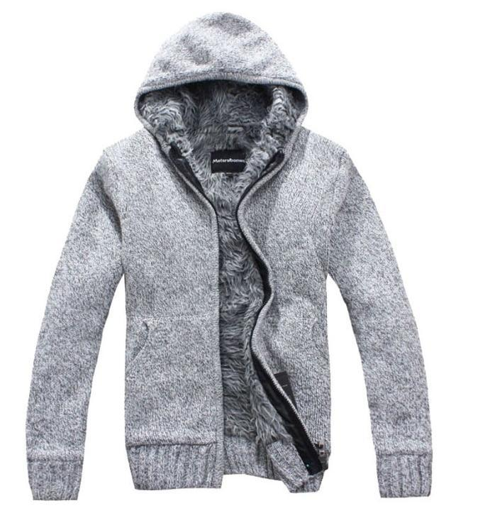 Hot 2017 new Men's Fashion winter Knitted jacket Coat Cotton Hooded thick white cardigan sweater Sweaters men XXL,XXXL W 136 - jiangnan style store