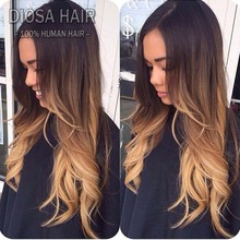 Diosa New Fashion 1B#T4#T27# Ombre Full Lace Wig Human Hair Three Tone Ombre Lace Front Wig, Brazilian Wavy Ombre U Part Wig(China (Mainland))