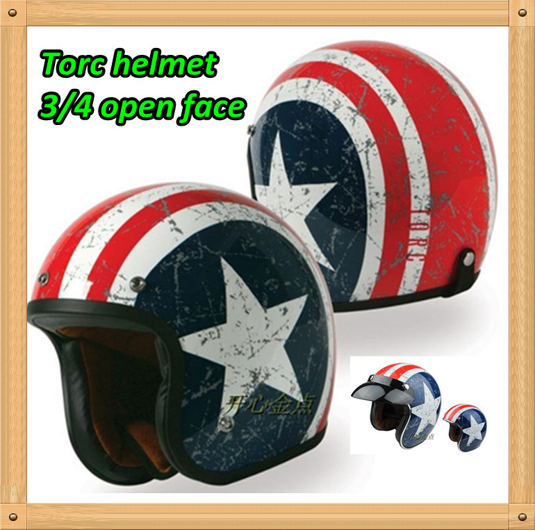 The TORC T541 captain america 3/4 pilot motorcross retro vintage helmet china OPEN FACE MOTORCYCLE SCOOTER HELMET With glass(China (Mainland))
