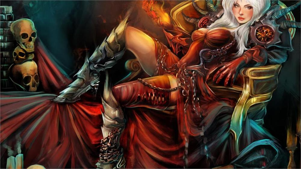 Gothic Magic Skull Warrior Armor Throne Wearing boots Fantasy Girls Home Decoration Canvas Poster