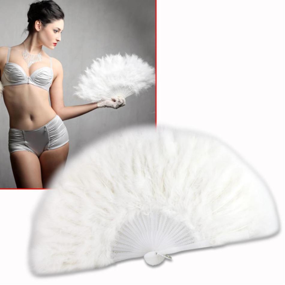 Sale 56%off White feather wedding party ball lady folding hand fan Fancy Elegant Props Phantom wedding decoration(China (Mainland))
