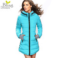 Fashion Winter Long Jacket Women Parkas Thickening Hooded Slim Fit Down Cotton Overcoat Plus Size Outwear