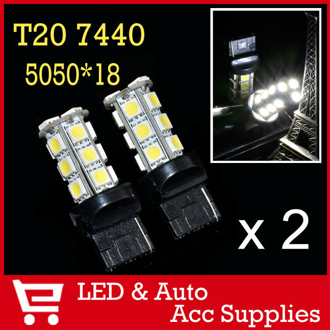2 x 18 SMD LED Auto Light 5050 T20 7440 7443 7441 Socket Car Turn Signal Lamp Brake Stop Lights Bulb Xenon White 12V CD022(China (Mainland))
