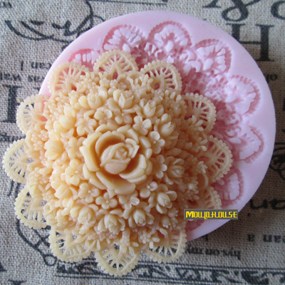 Free shipping 3D rose Handmade soap silicone mold , fondant cake chocolate candle moulds cake decorating mould(China (Mainland))