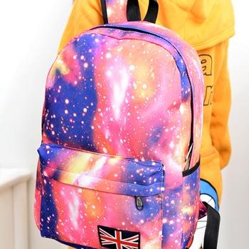 Fashion Unisex Stars Universe Space Printing Backpack School Book Backpacks British-flag Shoulder Bag HB88