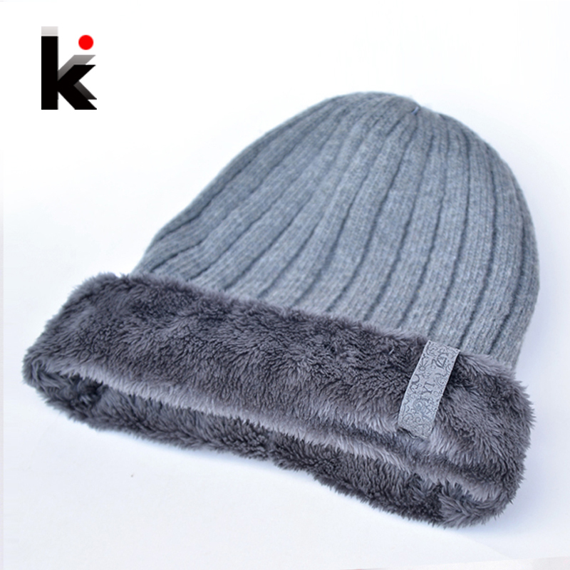 2016 Winter Beanies Hats For Men Plus Wool Beanie Knitting Keep Warm Caps Double-deck Toucas de inverno Hat 4 Color Cap(China (Mainland))