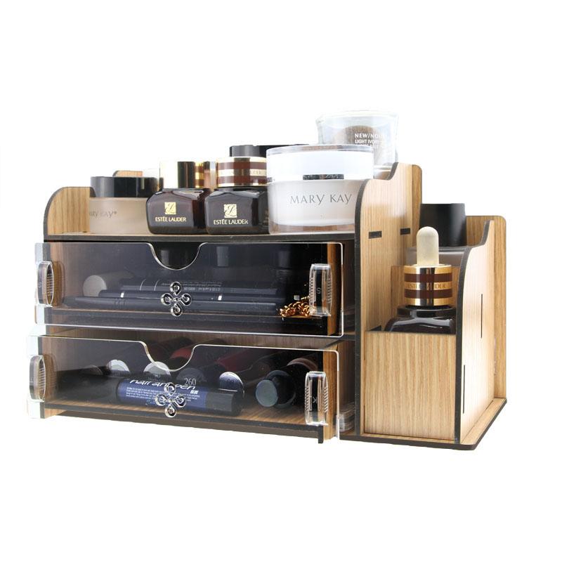 Acrylic Wooden Makeup Organizer / Diy Desktop Storage Box / Double Drawer Storage Box / Creative Cosmetics Desktop Organize(China (Mainland))