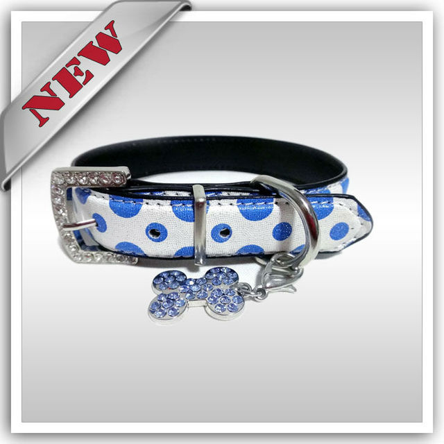 Fashion Dog Pet PU Collar,Dog Crystal Charms Collar, Rhinestones Buckle Collar, Free shippping, 10pcs/lot. Black Red Blue