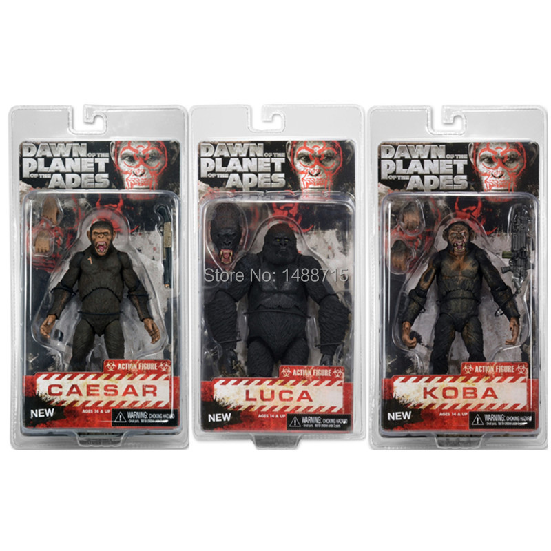 3pcs Hot Sci-Fi Movie Dawn of the Planet of the Apes Caesar Koba Luca NECA Ver.2 Action Figure Toys 7