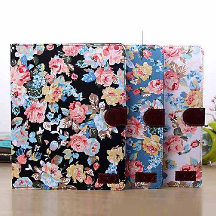 Новые магнитные бумажник цветы цветочный жаккард кожаный чехол для iPad 2 / 3 / 4 лаки