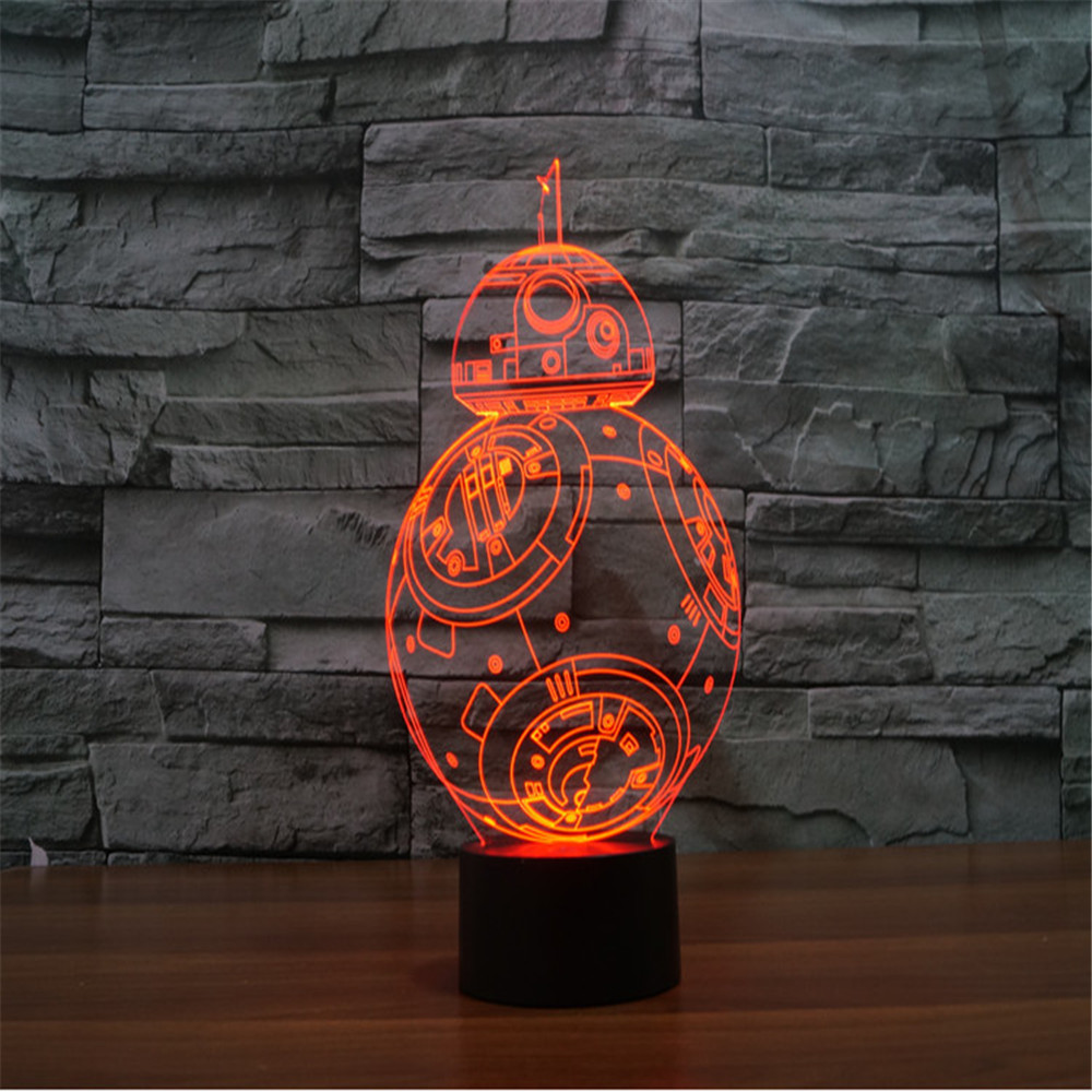 3D LED Toy Guerra De Las Galaxias BB-8 Droid Gradient Visual LED Lamp Light-up Toy Table Lamp Personal Glowing Toy Luminous toys(China (Mainland))