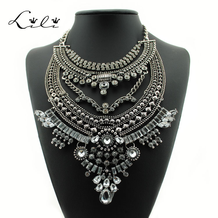 2015 Bohemian Statement Necklaces Vintage Colar Collier Femme Choker Collar Multi Layer Necklace for Women Gipsy Style Crystal(China (Mainland))