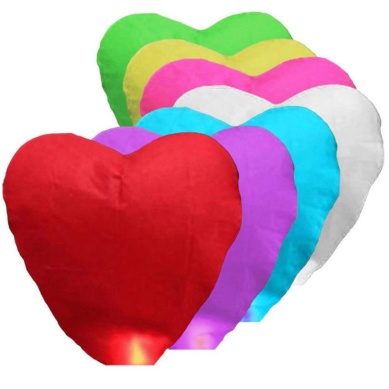 Cute Love Heart Sky Lantern Flying Wishing Lamp Hot Air Balloon Kongming Lantern Party Favors For Birthday Party 1pc 7Colors(China (Mainland))