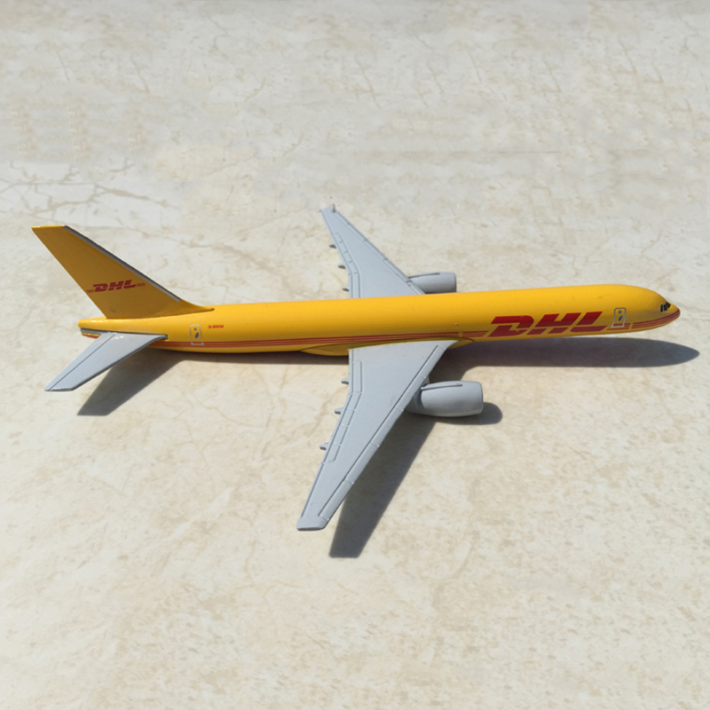 1/400 Scale Diecast Airplanes Model Toys Yellow DHL Express Delivery Aircraft Boeing 757-200 B757 w/Demonstration Base Model Gi(China (Mainland))