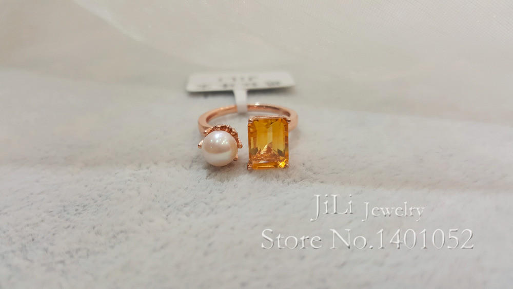 New arrival Natural Citrine and Freshwater Pearl silver plated Rose Gold Charm Party Ring(China (Mainland))