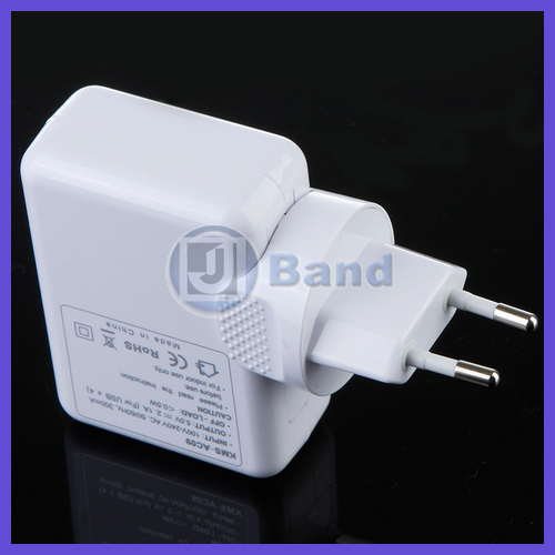 100pcs(50sets)/lot For iPhone iPad touch Samsung HTC mp3 mp4 4 Port USB AC Adapter 4 Plugs Wall Charger Fast Free shipping(China (Mainland))
