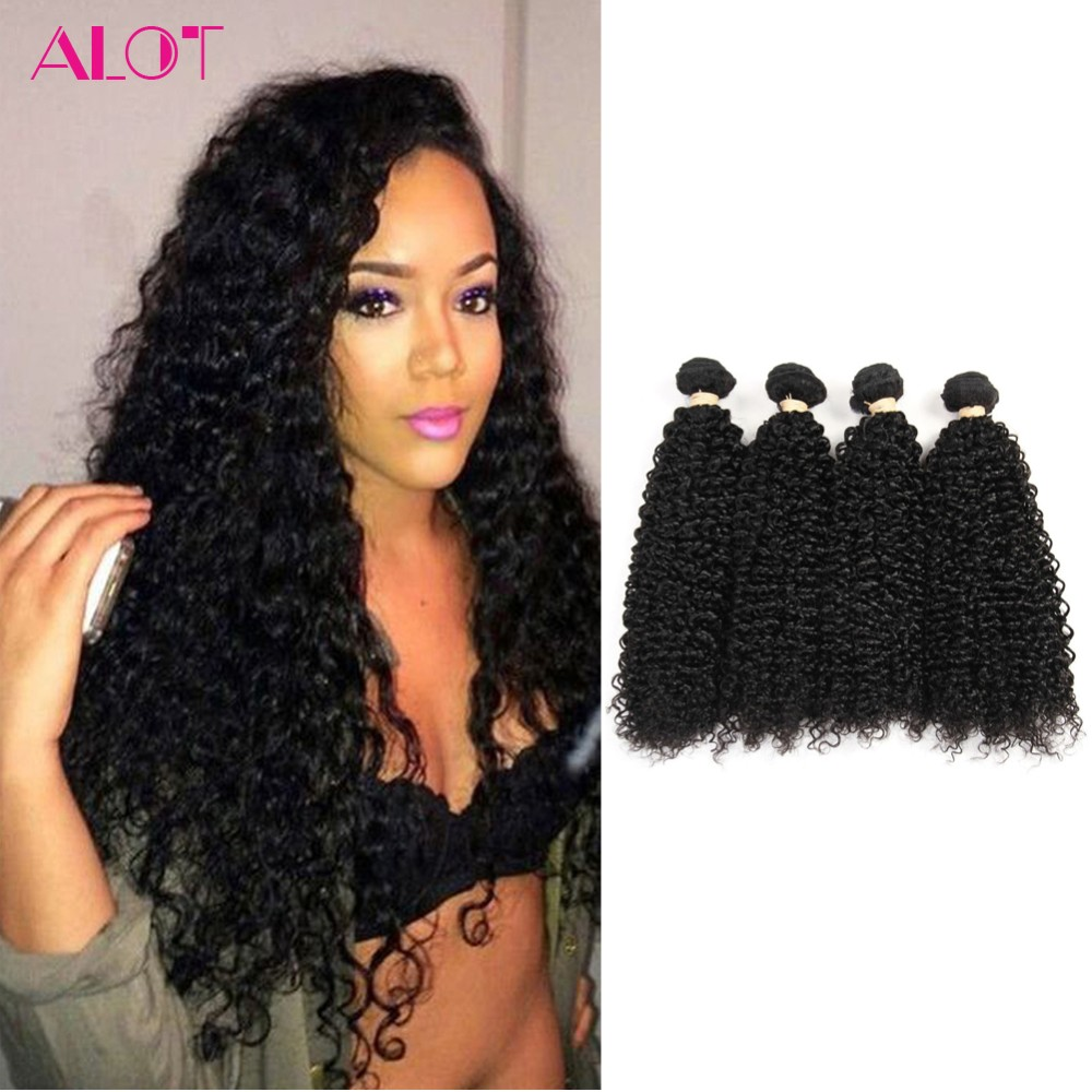 Peruvian Hair 4 Bundles Kinky Curly Virgin Remy Human Hair Weave 400 Grams Human Hair Extensions Mixed Length