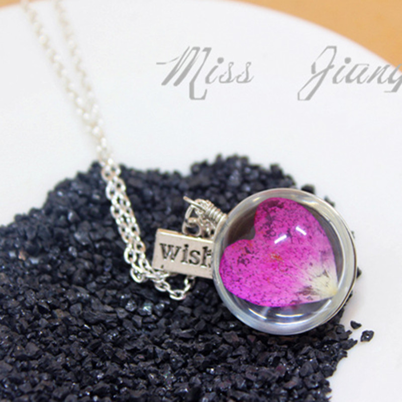 Wish Purple Dry Flower Rose Petal Glass Lover Heart Necklace for Women Fashion Silver Wholesale Ladies Pendant Necklaces(China (Mainland))