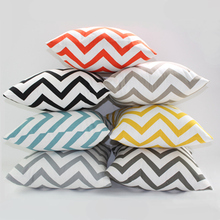 Two-Sided Canvas Geometric Wave Stripe 100% Cotton Throw Pillowcase Cushion