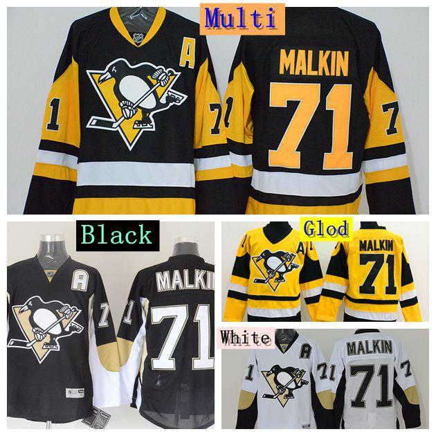 Evgeni Malkin Pittsburgh Penguins Jersey Malkin Hockey Jerseys Cheap #71 Evgeni Malkin Jersey Vintage Black Throwback Yellow(China (Mainland))