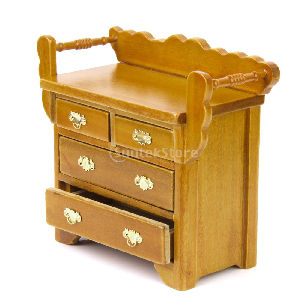 New Arrivals 2015 1/12 Dollhouse Drawer Chest Miniature Furniture for House Decoration with 4 movable drawer Free Shipping(China (Mainland))