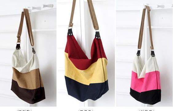 Free Shipping 2014 stripe canvas bag messenger bag fashionable casual student school bag women's handbag shoulder bag(China (Mainland))
