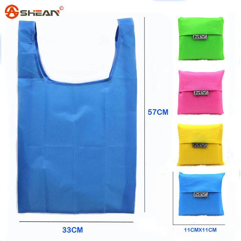 1 Pc New Eco Shopping Travel Shoulder Bag Pouch Tote Handbag Folding Reusable Bags Home Garden 10 Colors<br><br>Aliexpress