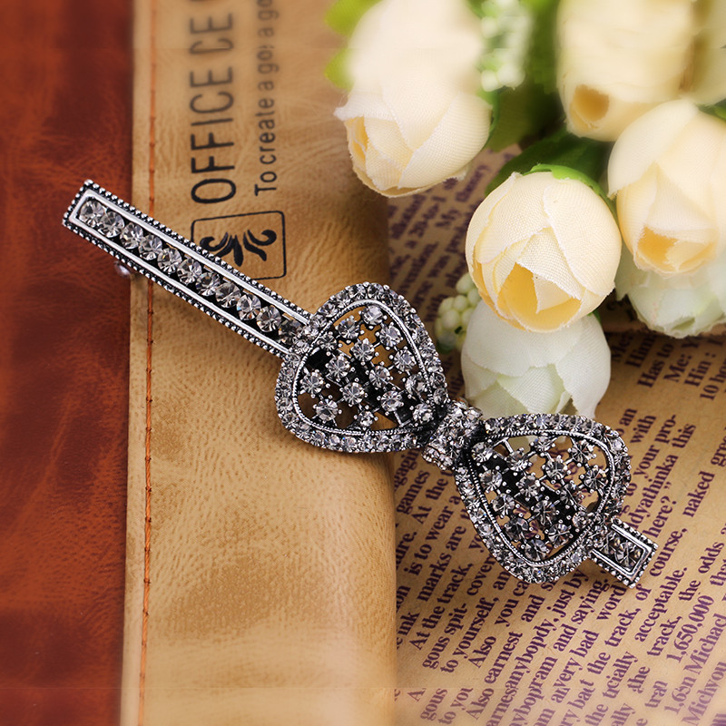 Fashion girl hair clip accessories elastic Tie hair bow clips for women luxurious rhinestone headwear accessories for women(China (Mainland))