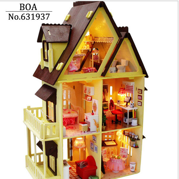 buy diy wooden doll house with furniture. Black Bedroom Furniture Sets. Home Design Ideas