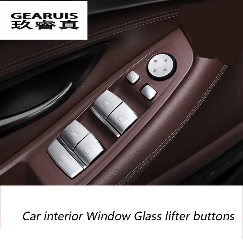 Car-styling interior Window Glass lifter buttons sequins Chrome ABS 3D stickers BMW 3/5/7 series 5GT X1 X3 X4 X5 X6 E70 F16