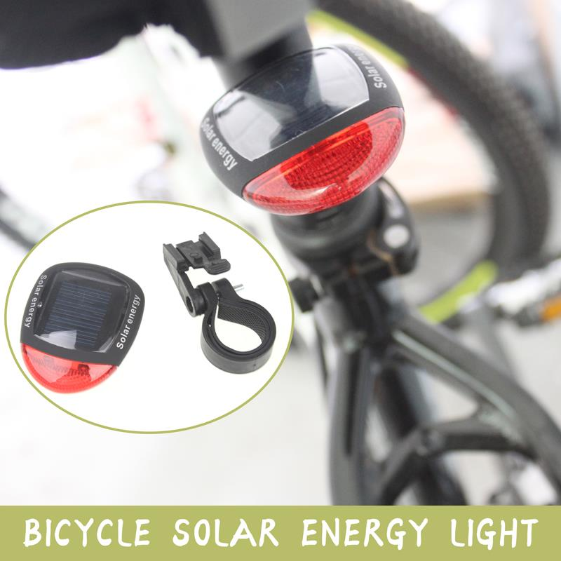 2 LED 3 Modes Bright Solar Energy Power Bike Mountain Bicycle Red LED Tail Rear Light Outdoor Sports Cycling Lamp MBI-21(China (Mainland))