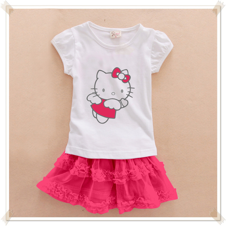 Retail new 2015 baby girls hello kitty dress sets child kids clothing suits party clothes cartoon top quality(China (Mainland))
