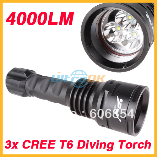 4000Lumen 3x CREE XML T6 LED Diving Waterproof Flashlight Torch+2x 26650 Battery + Charger