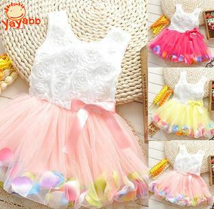 2016 New Casual Flower Girl Dress Girls Summer Dresses Sleeveless Dress For Girls Children's Dress Kids Clothes Ball Gown 3T-8T(China (Mainland))