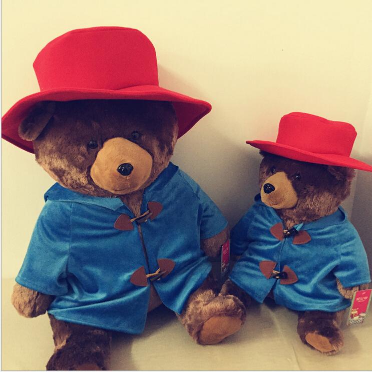 2015 The new 45 cm Red Hat stuffed bear, cute little Paddington Bear plush toy, Valentine's Day gift, free shipping!(China (Mainland))