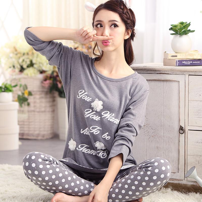 2015 New Limited Edition Pajamas For Women Long-sleeved Cotton Sleep Women's Lounge Pajama Set 3XL Ladies Autumn Pajamas