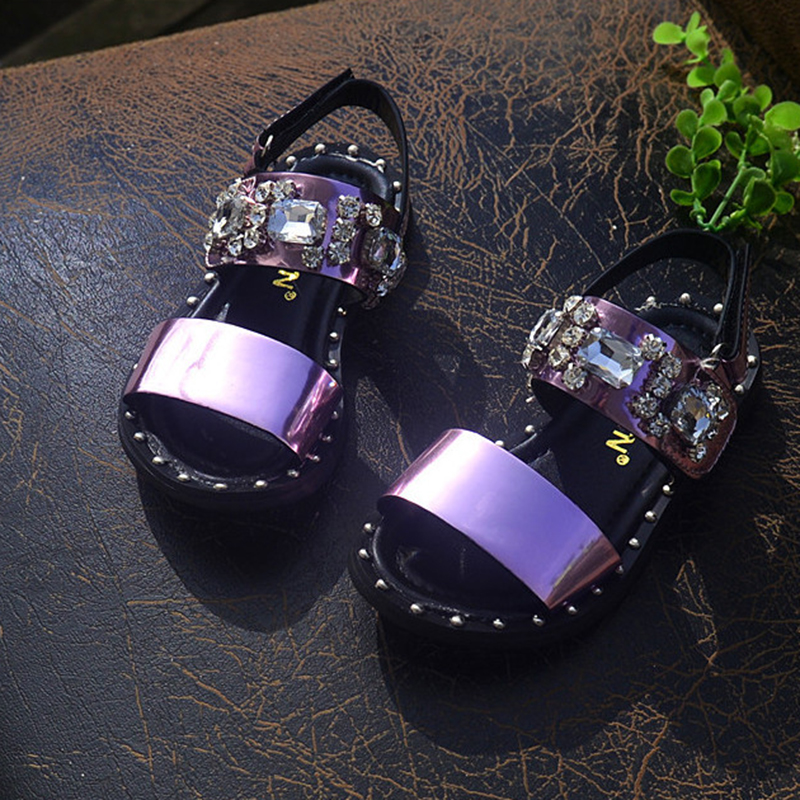2016 Summer Kids Girl Sandals Girls Sandals Classic Strap Shoe for Girls Pink Silver Toddler Girls EU26-35 Summer Shoes(China (Mainland))
