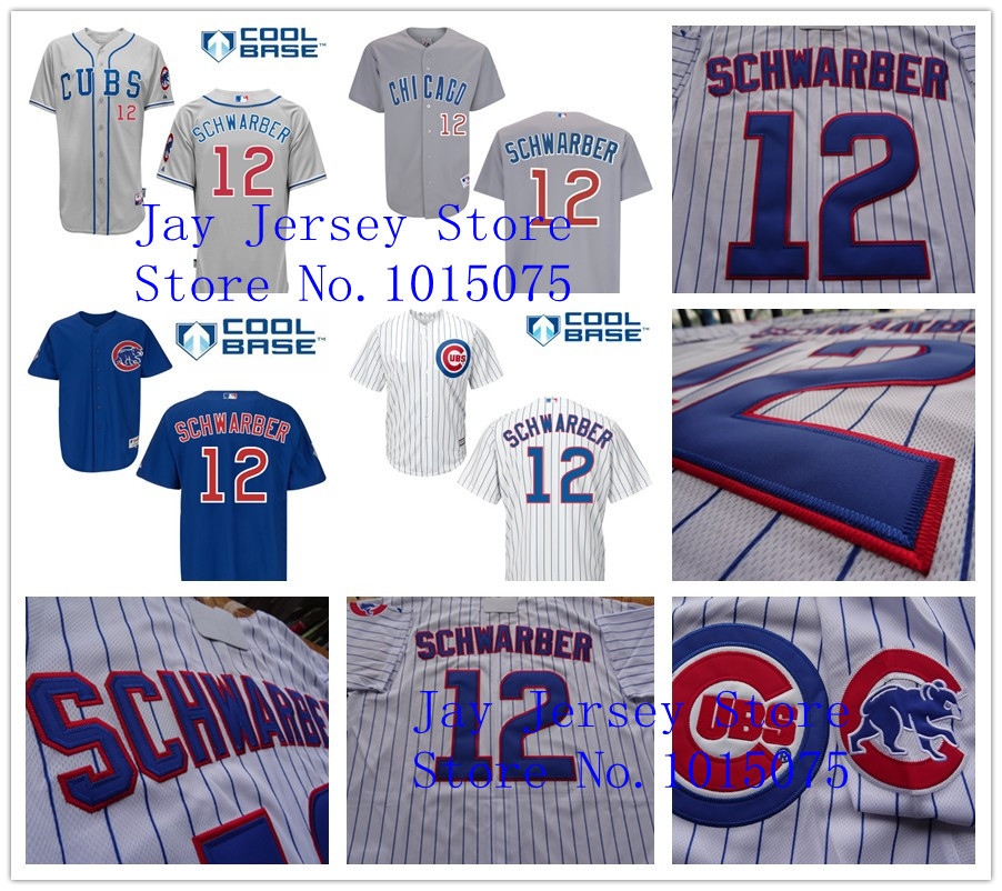 Kyle Schwarber Jersey Authentic Cool Base Chicago Cubs Jerseys 2015 White Pinstripe Blue Grey(China (Mainland))