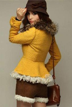 Yellow New Womens Elegant Faux Fur Collar Jacket Slim Coat Outerwear Tops #8008