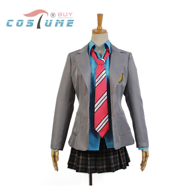 Здесь можно купить  Kimi no Uso Your Lie In April Kaori Miyazono Uniform Grey Suit Jacket Blue Shirt Skirt Anime Halloween Cosplay Costume For Women  Одежда и аксессуары